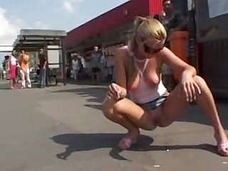 Ass Blonde Glasses Public Squirting