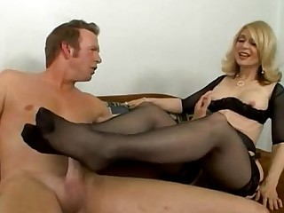 Blonde Fetish Foot Fetish Footjob MILF Nylon Stocking